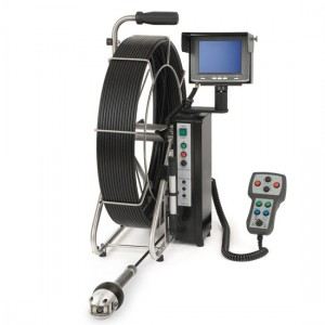 Ritec pan and rotate push rod pipe inspection camera system with 165 ft push cable and 3 inch camera head