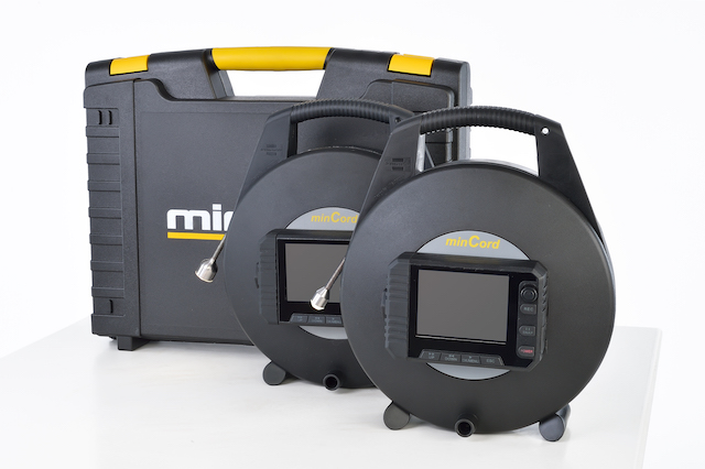 Mincord portable push camera for inspection of small pipes